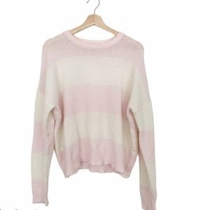 Noisy May Pink and White Stripe Crew Neck Sweater